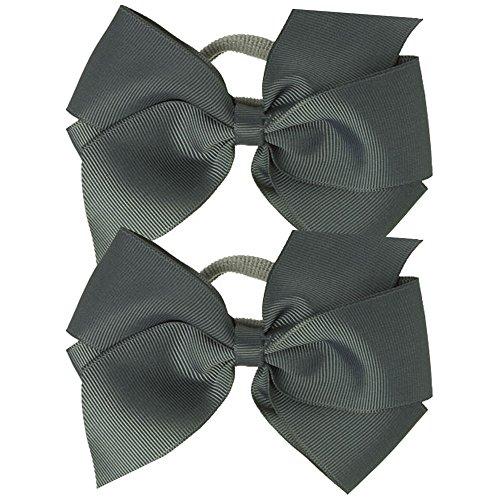 Paar Ripsband Haar Schleife Pony/elastisch/Band–Grau