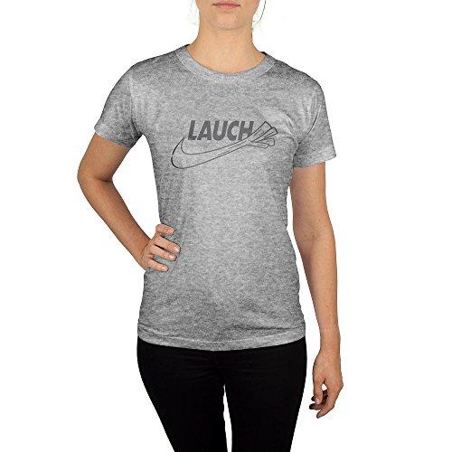 Frauen T-Shirt mit Aufdruck in Grau Gr. M Lauch Sport Design Girl Top Mädchen Shirt Damen Basic 100% Baumwolle Kurzarm