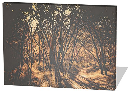 Im Wald, Gemälde Effekt, schönes und hochwertiges Leinwandbild zum Aufhängen in XXL - 120cm x 80cm, echter Holzrahmen, effektiver Pigmentdruck, modernes Design für Ihr Büro oder Zimmer