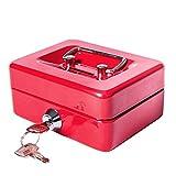 Pequeña moneda caja de caudales con ranura–jssmst Lock caja para adultos y niños, ahorro de dinero caja de dinero con bandeja, uso pesado 100% seguro, color rosso