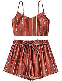 74f120f67f52c Dos Piezas de Top y Pantalones Cortos con Cinturón a Rayas Sexy Top Chaleco  de Verano Mujer Básicos Ropa…