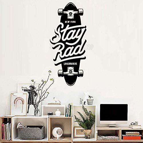 supmsds Skateboard Ride Scooter Adesivo murale Decalcomania del Vinile Camera dei Ragazzi Divertimento Camere per Adolescenti Arte Murale Decor Carta da Parati Moderna L M 56 cm x 126 cm