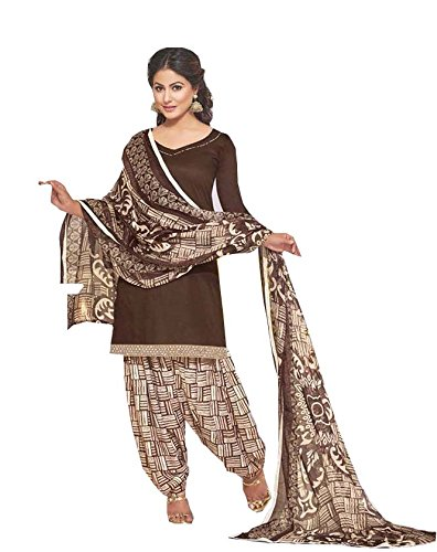 Generic Brown Colour Gleze Cotton Fabric Patiala Salwar Suit Dupatta Material. (Unstitched)