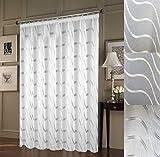 """Tenda su misura """"Wave"""" con nastro arricciato (universale), voile, bianco, altezza 90-295cm, larghezza 1-12m, Tessuto, argento, 290cm (H) x 300cm Stoffb.= 150cm Dekob."""