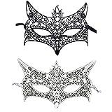 Tiffley Time 2 Stück Maskerade Maske Sexy Spitze Venezianische Maske Augenmaske Gesichtsmaske Masquerade Maske für Halloween, Maskenball, Karneval, Maskentanzabend, Party, und Köstumfest (Style 03)