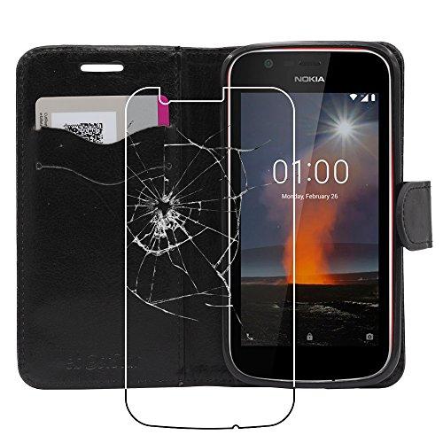 ebestStar - Cover Nokia Nokia 1 Custodia Portafoglio Pelle PU Protezione Libro Flip, Nero + Pellicola Vetro Temperato [Apparecchio: 133.6 x 67.8 x 9.5mm, 4.5'']