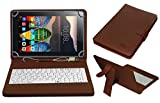 #6: ACM USB Keyboard Case for Lenovo Tb3-710i Tablet Cover Stand with Free Micro USB OTG - Brown