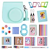 Goocor 15 in 1 Instax Mini 9 Camera Accessories Set for Fujifilm Instax Mini 9/ Mini 8/ Mini 8+ Camera, Includes Mini 9 Case,Albums,Six Color Filters,Rainbow Shoulder Strap,Pen ETC (Azul Hielo)