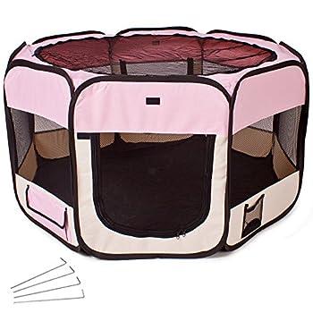 TecTake Parc à chiots chien chaton chat enclos pour chiens 125 x 125 x 64 cm (LxlxH) pink