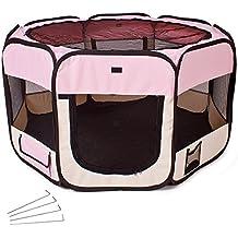 TecTake Parque para cachorros recinto parque para animales perros gatos rosa