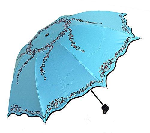 SBBCW Volants Vinyl Sonne Schatten Prinzessin Druck Reizend Dame Gefaltet Regenschirm