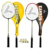 #4: Guru Karbon BR03 COMBO-03 Badminton Racket Set Pack of Two With Two Cover & 3 Shuttlecock Size: 27 inch