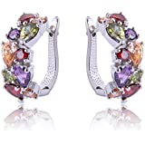 Yazilind Dazzling Rhodium Plated Colorful Round Pear Cut Flawless Cubic Zirconia Claw Small Hoop Earrings
