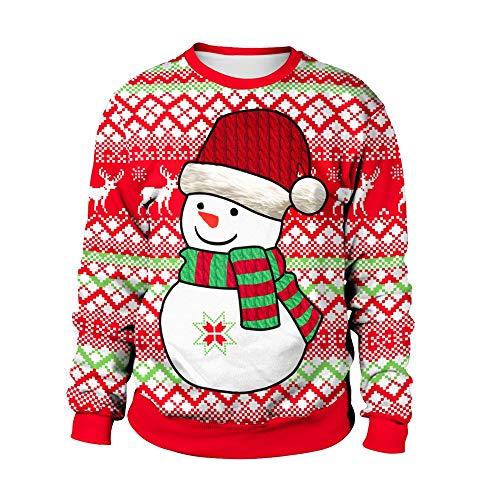 ZHRUI Lässige Weihnachten Pullover Rentier Schneemann Muster Schöne Mode Komfort Hoody (Farbe : Weiß, Größe : M) (Herren Hässlich Weihnachten Pullover)