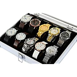 America Phoenix Large 12 Grids Watch Display Jewelry Case Box Storage Holder Leather and Aluminius,Glass Top Jewelry Case Organizer by America Phoenix