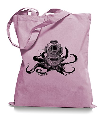 Ma2ca® Octopus Diver - Jutebeutel Stoffbeutel Tragetasche / Bag WM101 Classic Pink