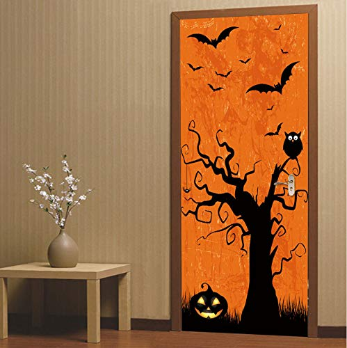 nierte Größe / 77 * 200 cm Halloween Kürbis Tür Aufkleber Kid Happy Festival Decor Tapete PVC Selbstklebende Wasserdichte Wandtattoo ()