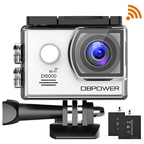 DBPOWER EX5000 2.0inch WIFI 14MP 1080P FHD Waterproof Sports Action Camera with 2 Improved Batteries and FREE Accessories (White)
