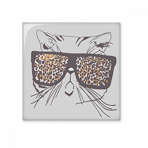 Leopard Print Sonnenbrille Katze Kopf schützen Animal Pet Lover Keramik Bisque Fliesen für Dekorieren Zimmer Küche Keramik Fliesen Wand Fliesen, sku00176532f13810-L