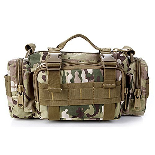 Yihya Militare multifunzionale Nylon bag Tactical Marsupio Tattico Messenger Zaino Bag Zaino di Assalto per Sport Esterni Avventura Climbing & Riding Borsa da Viaggio - Spalla-kaki Borsa a tracolla-camouflage