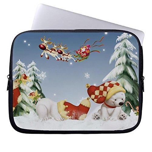 d9c1e72df9 hugpillows Laptop Sleeve Borsa/Custodia per notebook Casi di Natale Orso  polare con zip per