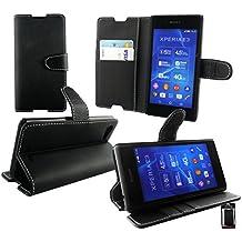 Emartbuy® Sony Xperia E3 / Xperia E3 Dual Premium PU Cuero Funda Wallet Soporte Sobremesa Carcasa Case Cover Alta Calidad Negro con Tarjeta de Crédito Slots