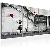 murando Cuadro en Lienzo Grande Formato Impresion en calidad fotografica! Cuadro en lienzo tejido-no tejido 3 partes Banksy 020115-9 120x60 cm