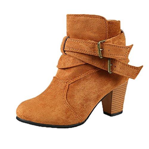 Stivali da donna con tacco alto Vovotrade Scarpe Ladie Buckle Scarpe Scarpa Martin Stivali Giallo