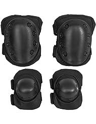 4x Protektoren Set Schutzausrüstung Schoner für Inline Skaten Skateboarden Rollschuhlaufen Eislaufen CS Spiele, schwarz