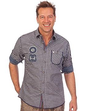 Krüger Dirndl H1657 - Trachtenhemd mit Langem Arm - Wenzel - Blau, Rot, Größe M