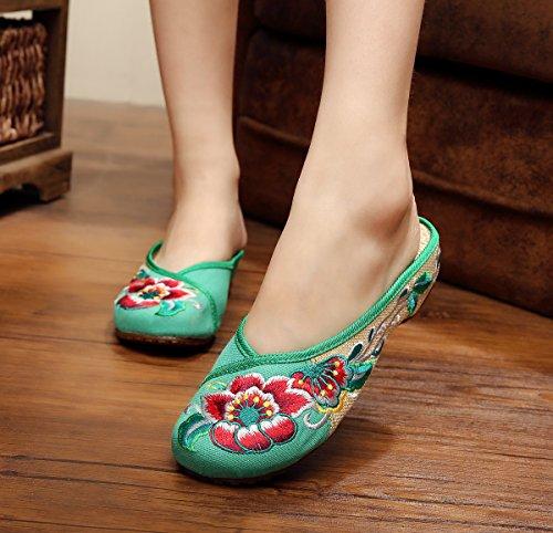 GXS Feine gestickte Schuhe, Sehnensohle, ethnischer Stil, weiblicher Flip  Flop, Mode,