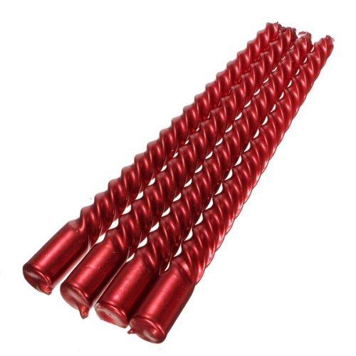 PDHU Kerzen mit Spiralen, spiralförmig, gedreht, für Esstisch, Hochzeit, Rot, 4 Stück