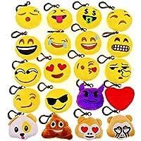 JZK 5cm Mini Emoji Plüsch Schlüsselanhänger Tasche Rucksack Anhänger, Mitgebsel Geschenk Gastgeschenk für Kinder Fasching Geburtstag Party