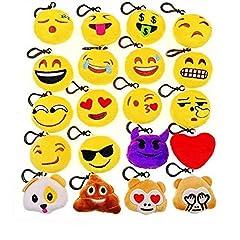 Idea Regalo - JZK 20 Piccoli giochi giocattoli peluche 5cm mini emoji portachiavi emoticon whatsapp regalo compleanno Natale bomboniera festa bambini adulti