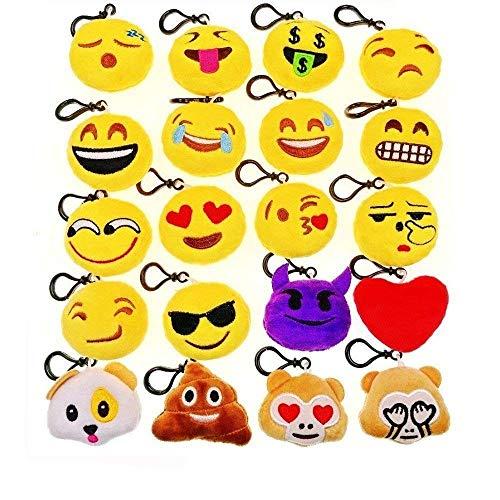 JZK-20 Mini-Spielzeug aus Plüsch, 5 cm, Keychain Emoji Keyring für Kinder und Erwachsene, zum Geburtstag, Taschen, für Partys, Dekorationen, 20, Mehrfarbig