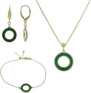 Gioiello Italiano - Parure in oro giallo 14kt con pietre naturali a scelta, collana - bracciale - orecchini, da donna