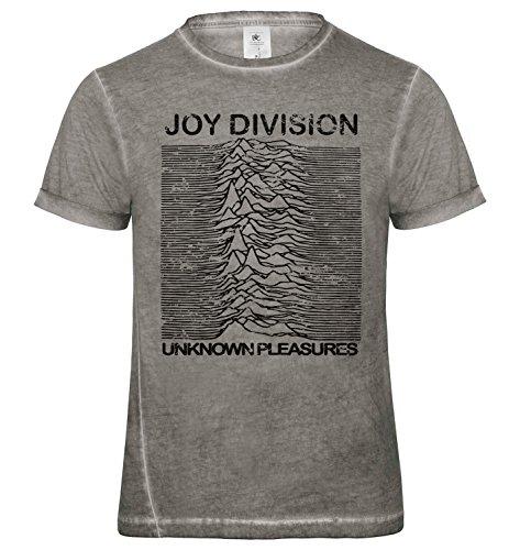 LaMAGLIERIA Camiseta Hombre Vintage Look Joy Division Japan D Cod. Grpr0087 - t-Shirt dnm Plug in Vintage con Estampa Rock, Large, Grey Clash