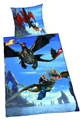 Herding DreamWorks Dragons Bettwäsche-Set, Baumwolle, Blau, 200 x 135 cm