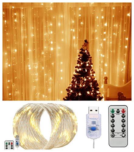 FITFIRST 300er LED Lichterkette Wasserdichte Warmweiß Batterie Twinkle Lichterkette Sternen Lichterketten mit Fernbedienung für Weihnachten Hochzeit Geburtstag Party Indoor außenbereich