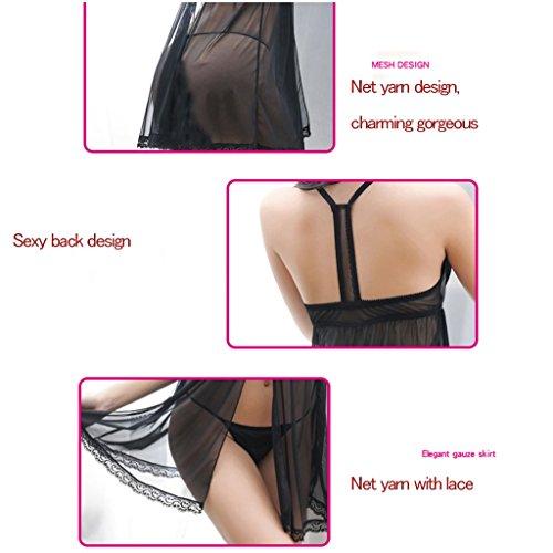 La biancheria intima di chiffon sexy del pigiama del merletto del merletto degli adulti ha regolato la biancheria intima sexy profonda del V del pannello esterno del pigiama dolce con l'anello d'accia Black