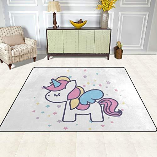 ISAOA Alfombra Moderna y Suave para niños, Bonita Alfombra de Unicornio para Dormitorio, Sala de Estar, habitación de niños, decoración Antideslizante y Lavable, 152 cm x 120 cm