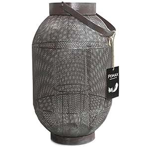 POMAX lanterne en tôle mANDCHOU metalllaterne argent rouille