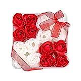 Txyk Jabón de baño con Aroma Floral Pétalos de Rosa con Flores, Cajas de Regalo, 16 Piezas, Regalos para Ella Mujeres Adolescentes Chicas Mamá Navidad San Valentín Rojo y Blanco