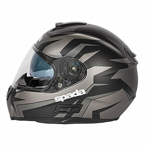 MOTORCYCLE FULL FACE SPADA SP16 VOLTOR CRASH ADULT MOTORBIKE HELMET Matt Black/Silver/Anthracite - Silver - XS