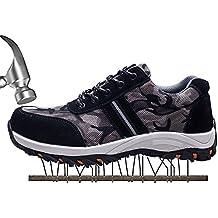 SUADEX Mujer Hombre Zapatillas de Seguridad Punta de Acero Camuflaje Zapatos de Trabajo Entrenador Unisex Zapatillas