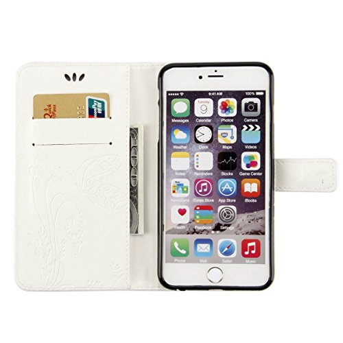 ISAKEN Custodia iPhone 6 Plus, Cover iPhone 6S Plus, Elegante borsa Custodia in Pelle Protettiva Flip Portafoglio Case Cover per Apple iPhone 6 Plus (6 5.5) / con Supporto di Stand / Carte Slot / Chi Farfalla: bianco