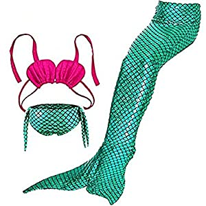3 Pezzi Ragazze Marmaids Sirena Costume da Bagno Swimsuit Swimwear Bikini Set Monopinna 3-12 anni (120(4-5Y), Rose Green)