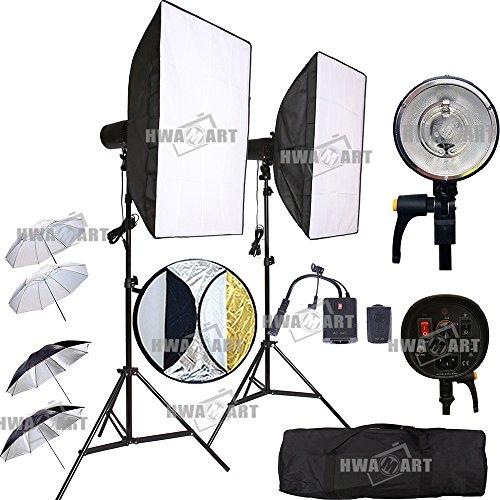 HWAMART ® 300W (150W x 2) Professionelle Fotografie Studio-Blitzlicht Strobe-Beleuchtung Kit für Porträtfotografie, Studio und Video Shoots