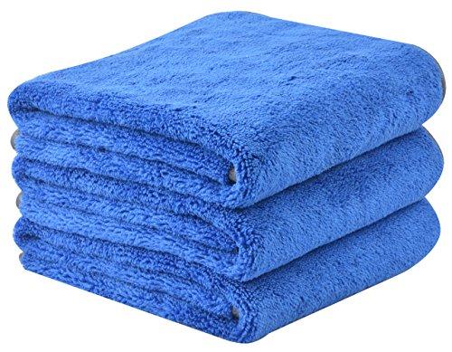 Kinhwa set da 3 panno microfibra auto per pulizia super assorbente panno asciugatura auto panno in microfibra autolavaggio panno per lucidatura 380gsm 40cm x 60cm blu