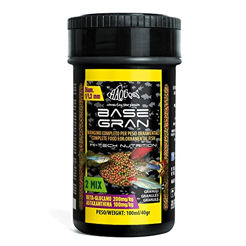 Haquoss Basegran Mangime in Granuli da 1,2/1,5mm per Pesci Tropicali, 100 ml/40 gr